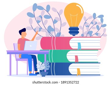 Young businessman with a large pile of books in the room. Character of people Looking for information, ideas, consulting, education, business and lifestyle. Modern vector illustration.