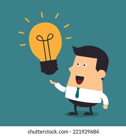 Young businessman with light bulbs, Idea concept