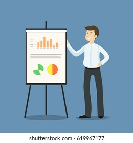 Young businessman or manager standing next to flipchart, presenting graphs and statistics - flat vector illustration