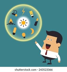 Young businessman with many ideas, Business idea