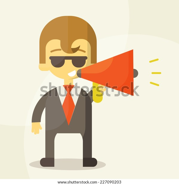 Young businessman with a megaphone, Business concept vector illustration eps 10