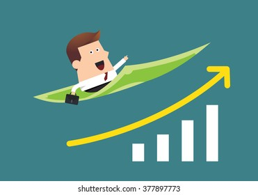 Young businessman on flying money with graph up, Business idea