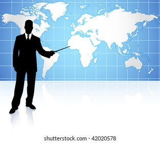 Young businessman pointing at world map