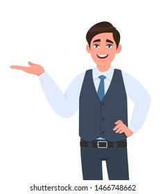 Young businessman presenting hand gesture to copy space. Person in formal waistcoat introducing something with hand on hip. Male character design illustration. Modern lifestyle in vector cartoon.
