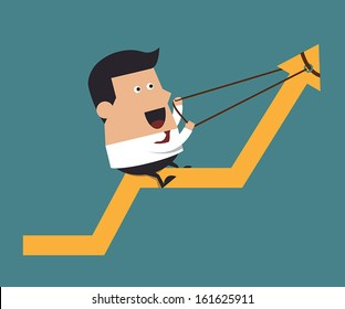 Young businessman pulling up a graph, Business concept