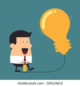 Young businessman pumps up a balloon of a light bulb sign, Business concept