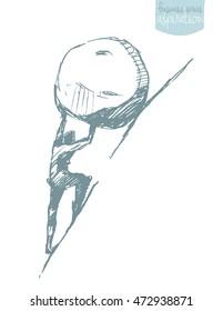 Young businessman pushing large stone uphill, vector illustration, sketch. Sisyphus myth.