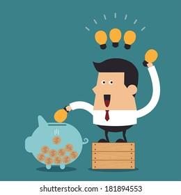 Young businessman putting light bulb into a piggy bank, Business concept