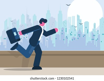 Young businessman running with briefcase, cityscape background. Ebusiness, energetic, dynamic concept. Flat style. Vector illustration.