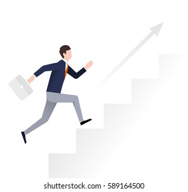 Young businessman runs up the stairs. Business development, career growth, success concept. Flat vector illustration.
