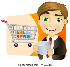 Young businessman with shopping cart holding a box