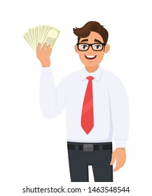 Young businessman showing cash, money in hand. Person holding currency notes. Male character design illustration. Business and financial , modern lifestyle concept in vector cartoon style.