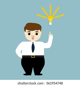 young businessman showing the idea of a light bulb