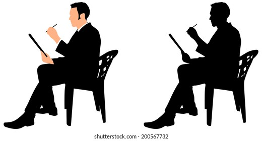 Young businessman signs contract on a black folder, vector