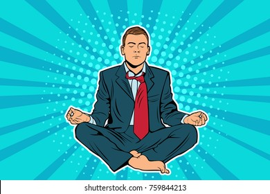 Young businessman sitting in lotus position pop art comic book vector illustration. Calm man in business suit meditating. Entrepreneur engage in spiritual practices for mental balance, stress relief