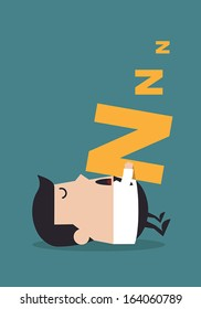 Young businessman sleeping on the floor, Business concept
