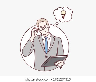 Young businessman smiling man having a good idea. Hand drawn style vector design illustrations.