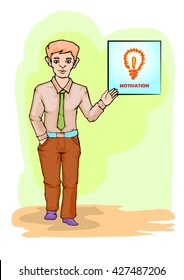 young businessman standing and giving motivation cartoon illustration