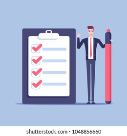A young businessman stands next to a giant checklist with a large marker in his hand. Office male employee is happy that he fulfilled all the items in the checklist vector flat illustration.