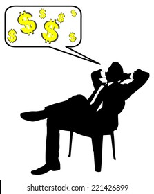 Young businessman taking a break and thinking about money, vector