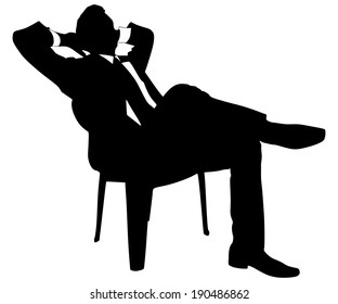 Young businessman taking a break, vector