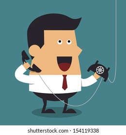 Young businessman talking on phone, Business concept