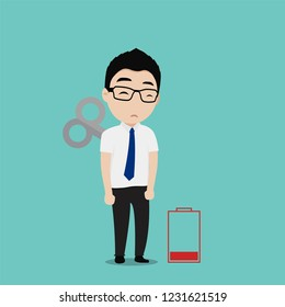 Young businessman tired. The lack motivation and energy to do work. Business concept