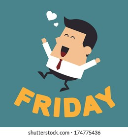 """Young Businessman With the Word """"Friday"""", Business concept"""