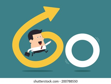 """Young Businessman With the Word """"Go"""", Business concept"""
