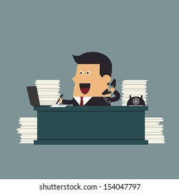 Young businessman working hard at the office, Business concept