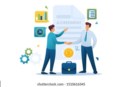 Young Businessmen agreement partners, growth revenue schedules. Flat 2D character. Concept for web design