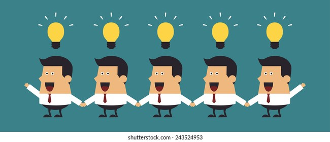 Young businessmen with light bulbs, Business idea