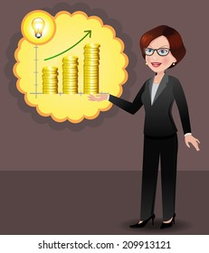 Young businesswoman has an idea to fund her business, make sales, grow business. EPS 10 vector with neatly named layers.
