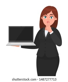 Young businesswoman holding a new brand laptop and asking silence. Sh! Keep quite! Silence please Female character design illustration. Gadget technology, payment, banking concept in vector cartoon