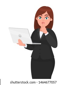 Young businesswoman holding a new digital laptop computer and asking to make silence. Keep quiet. Sh! Female character design illustration. Woman finger with on lips concept in vector cartoon style.