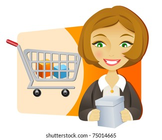 Young businesswoman with shopping cart holding a box