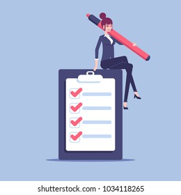 A young businesswoman sits on a giant checklist with a large marker in her hand. Office female employee is happy that she fulfilled all the items in the checklist vector flat illustration.