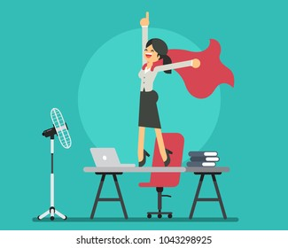 Young businesswoman standing on the desk like a super hero. Vector character design flat style.
