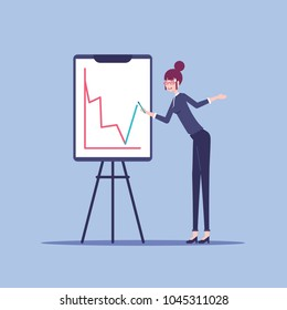 Young businesswoman stands next to the flip chart board which shows a red negative graph and woman tryuing to fix the situation vector flat design. Business concept crisis and apparent growth