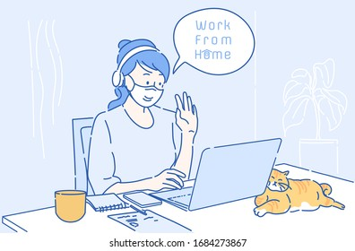 Young businesswoman working on computer laptop at home. She work from home for coronavirus infection control.  Hand drawn thin line style, vector illustrations.