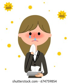 Young businesswoman,Hay fever