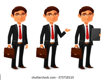 young cartoon businessman in black suit