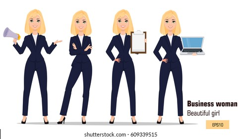 Young cartoon businesswoman set. Beautiful blonde girl in office clothes standing with crossed hands, holding mouthpiece, showing checklist and holding laptop. Fashionable modern lady. Vector. EPS10