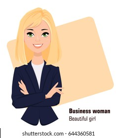 Young cartoon businesswoman wearing business style clothing. Fashionable blond modern lady. Beautiful girl standing with crossed hands. Vector illustration. EPS10