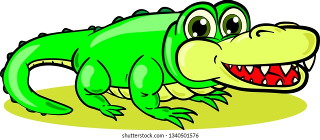 Young cartoon crocodile with opened mouth full of sharp teeth on white background. Vector illustration.