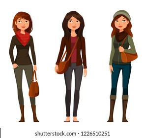young cartoon girls dressed in casual autumn fashion