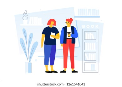 Young cartoon girls talking in the library on the background of bookshelves. The concept of modern learning and communication of young people. Vector flat illustration.