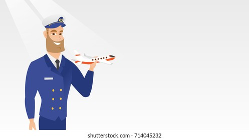 Young caucasian airline pilot holding the model of airplane in hand. Cheerful hipster airline pilot in uniform. Smiling pilot with the model of airplane. Vector cartoon illustration. Horizontal layout