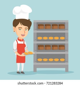 Young caucasian baker in chef hat holding a tray with bread in the bakery. Smiling female baker standing near the bread rack. Baker with a baking tray. Vector cartoon illustration. Square layout.