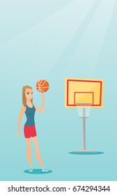 Young caucasian basketball player spinning a ball on her finger. Professional basketball player standing on the basketball court. Vector flat design illustration. Vertical layout.
